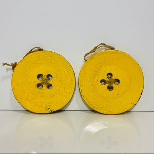 2 Home Decor Wall Hanging Ceramic Yellow Buttons